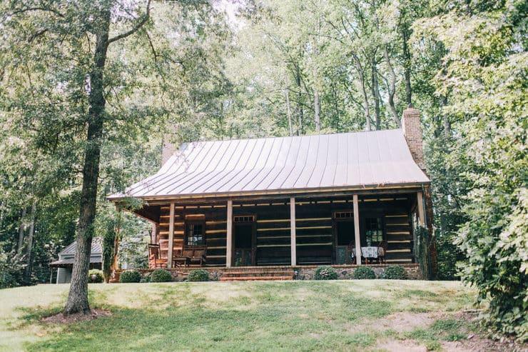 Log Home Slanted Metal Roof